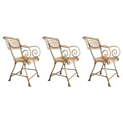 19th Century Lions Paw Arras Chairs with Arms a Set of Three