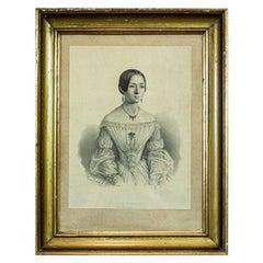 19th Century Lithograph, a Portrait of a Dancer