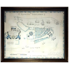 19th Century Lithograph Map of Lower Manhattan, New York