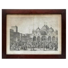 19th Century Lithography of Venice in Black and White