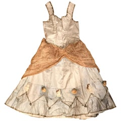 19th Century Little Girls Silk Dress with Dolls and Bells 'Costume'