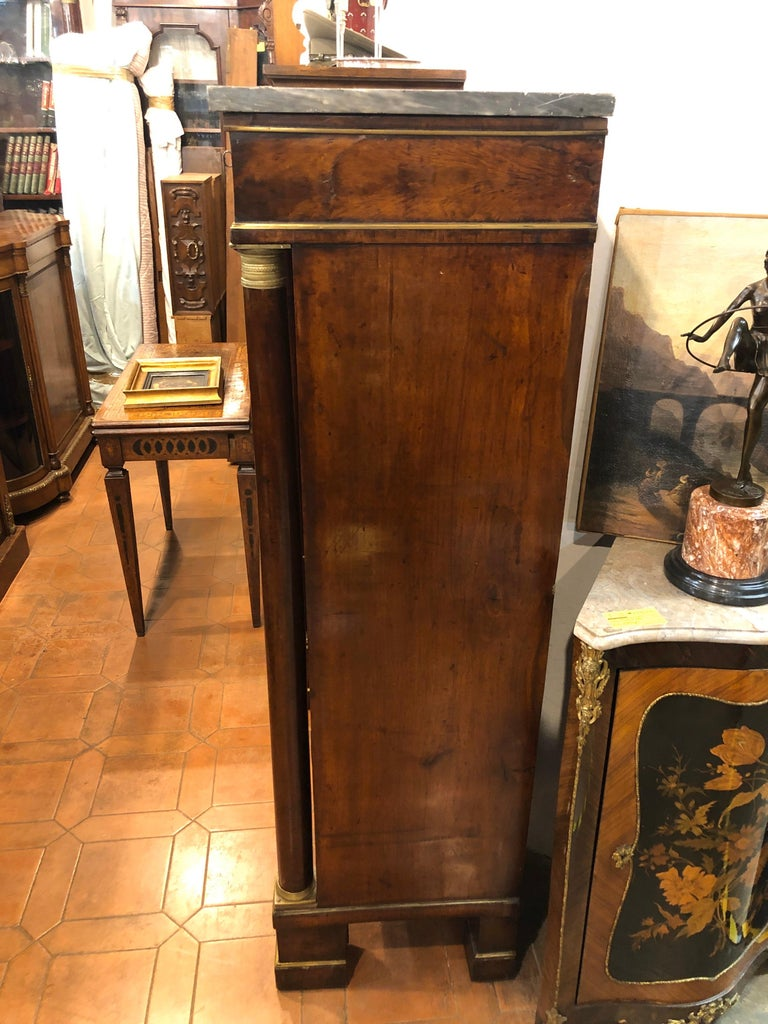 19th Century Lombard Italian Empire Wood Walnut Secretaire with Marble, 1810 For Sale 8