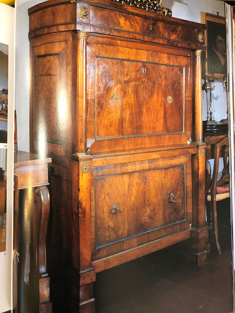 19th Century Lombard Italian Empire Wood Walnut Secretaire with Marble, 1810 For Sale 14