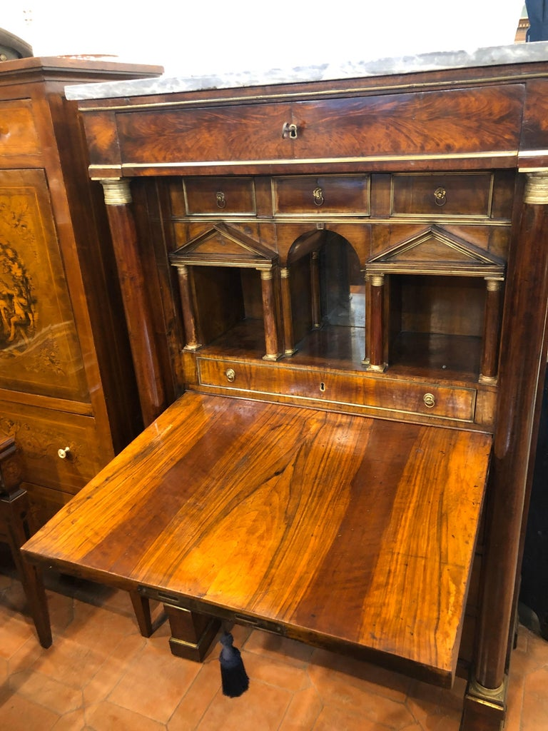 19th Century Lombard Italian Empire Wood Walnut Secretaire with Marble, 1810 For Sale 1