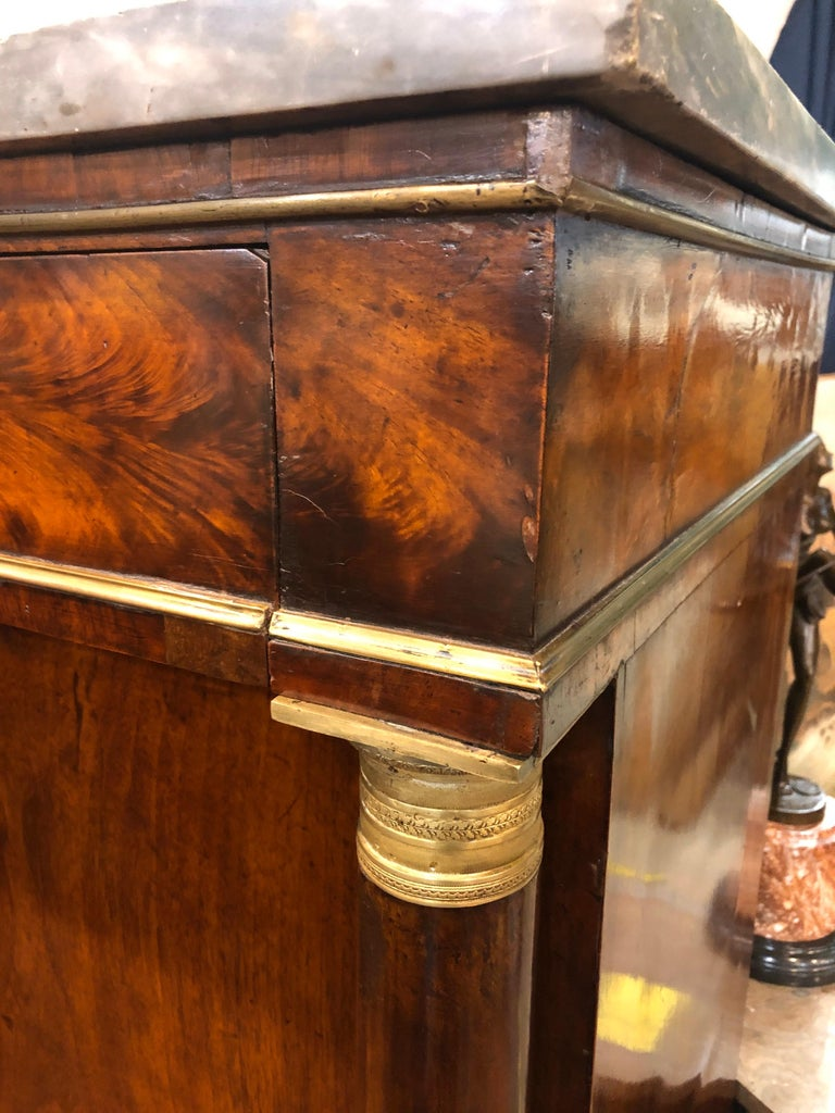 19th Century Lombard Italian Empire Wood Walnut Secretaire with Marble, 1810 For Sale 2