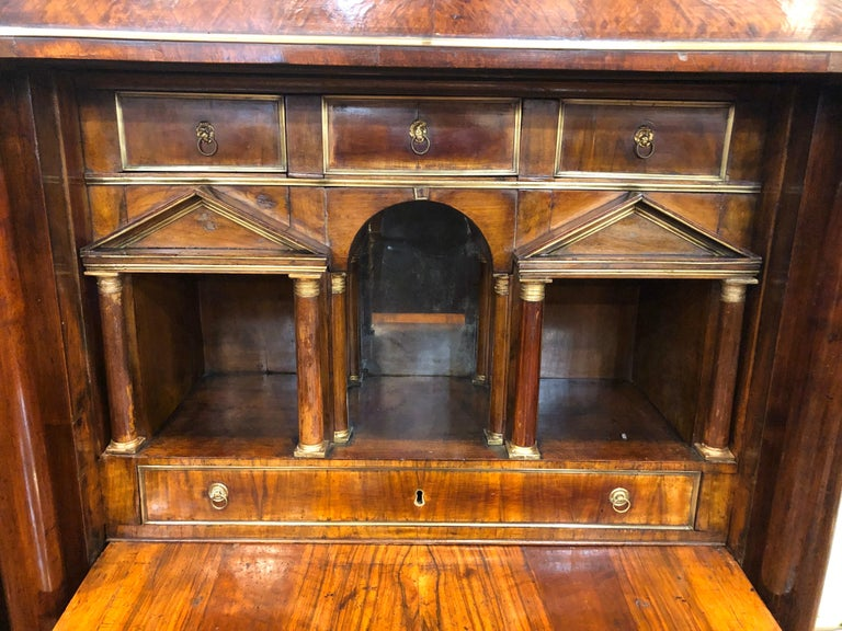 19th Century Lombard Italian Empire Wood Walnut Secretaire with Marble, 1810 For Sale 3