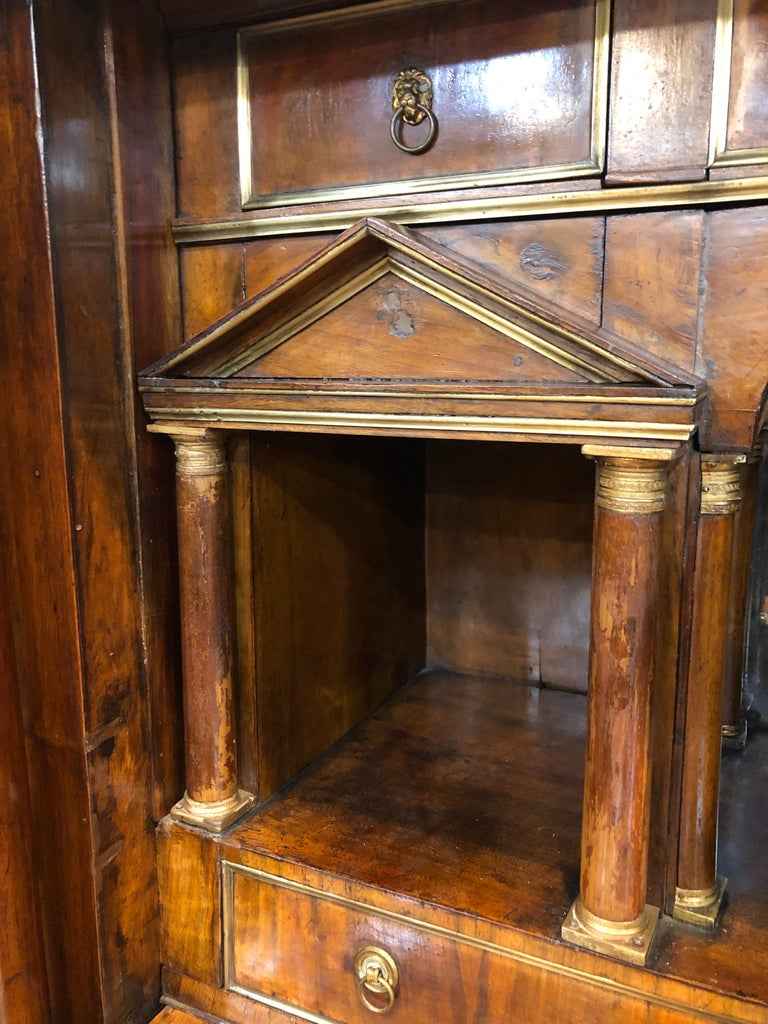 19th Century Lombard Italian Empire Wood Walnut Secretaire with Marble, 1810 For Sale 4