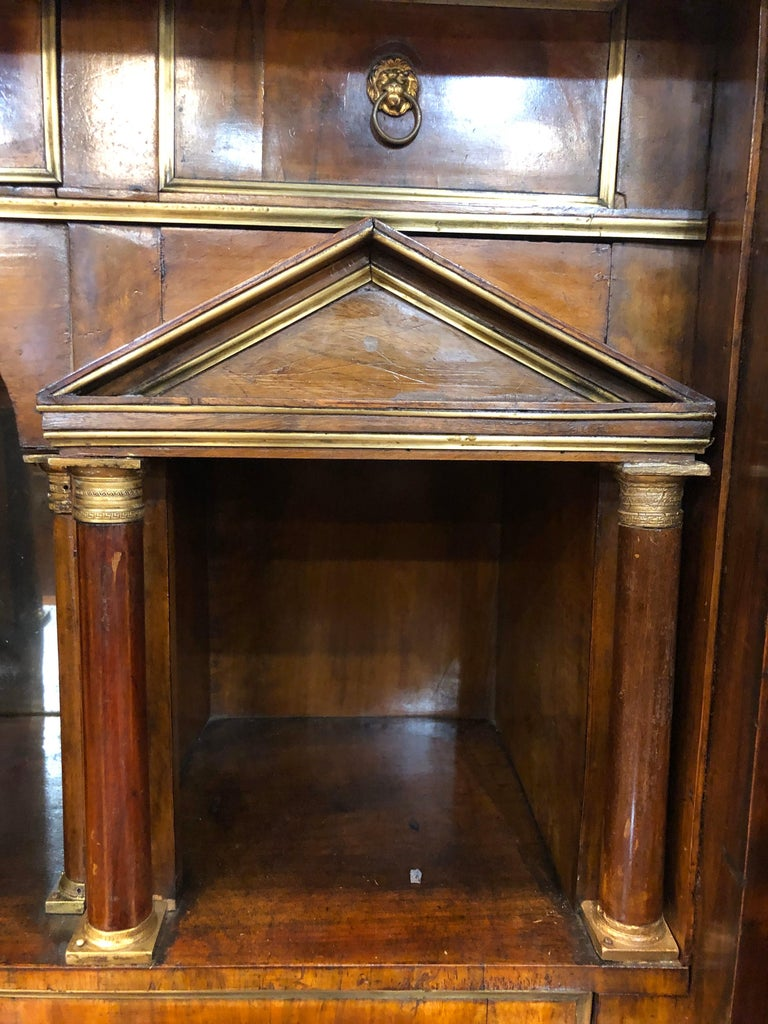 19th Century Lombard Italian Empire Wood Walnut Secretaire with Marble, 1810 For Sale 5
