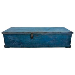 19th Century Long Sea Chest in Sky Blue Paint