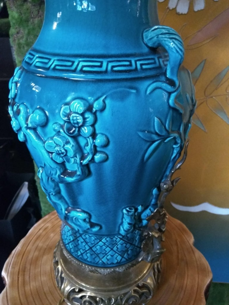 19th Century Longwy Vase Mounted in Lamp For Sale 4