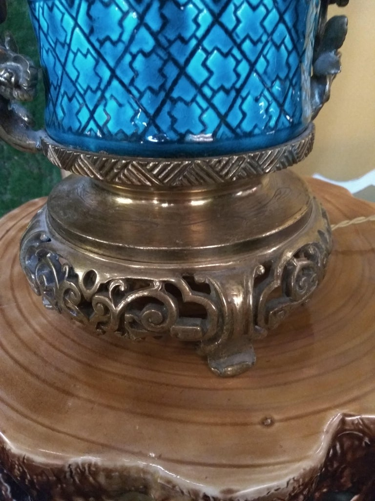 Japonisme 19th Century Longwy Vase Mounted in Lamp For Sale