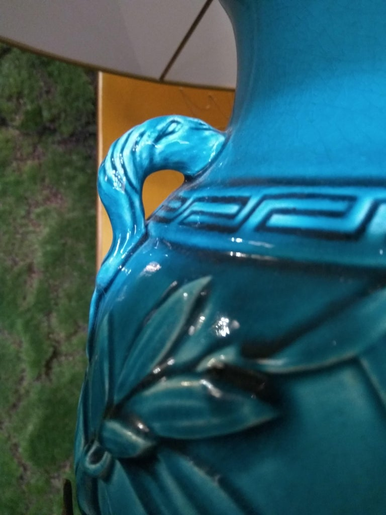 Enameled 19th Century Longwy Vase Mounted in Lamp For Sale