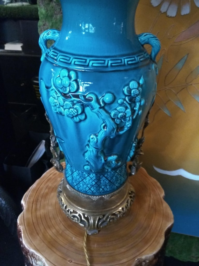 19th Century Longwy Vase Mounted in Lamp For Sale 1