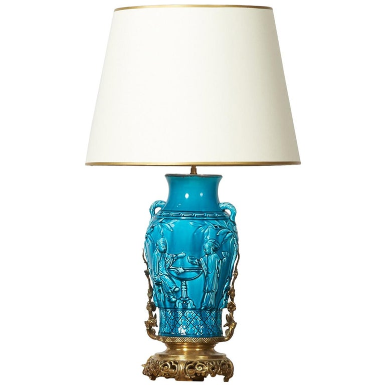 19th Century Longwy Vase Mounted in Lamp For Sale