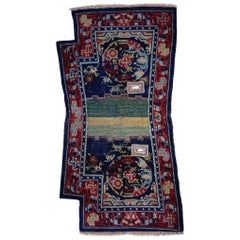 19th Century Peony Flower Medallions Blue Green and Red Saddle Horse Tibetan Rug