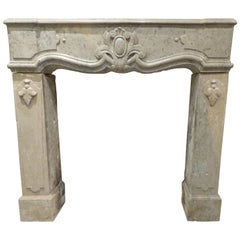19th Century Louis 15 Fireplace in Jura Hard Limestone