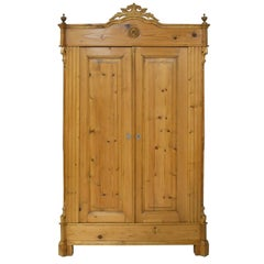 19th Century Louis Philippe Armoire in European Pine with Carved Bonnet, c. 1860