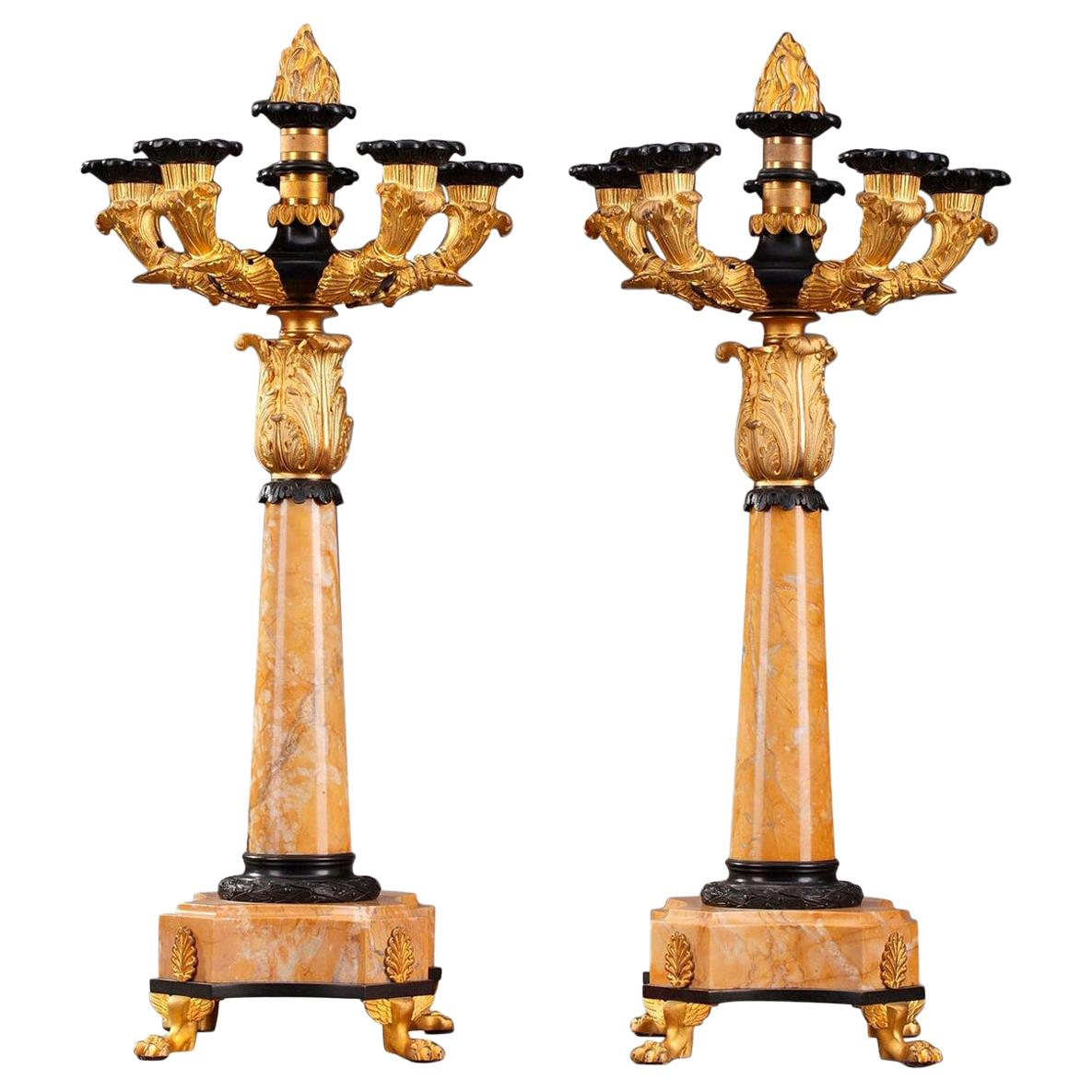 19th Century Louis-Philippe Bronze and Sienna Marble Candelabras