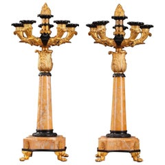 19th Century Louis-Philippe Bronze and Sienna Marble Table Candelabra