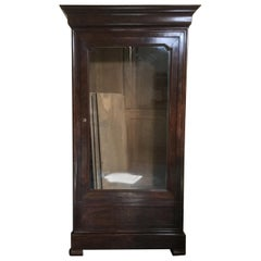 19th Century Louis-Philippe Burled Mahogany Armoire/Bookcase with Glass Door
