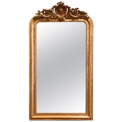 19th Century Louis Philippe Carved Giltwood Mirror with Shell and Floral Motifs