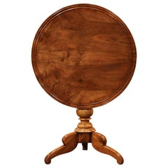 19th Century Louis Philippe Carved Walnut Round Tilt-Top Gueridon Table