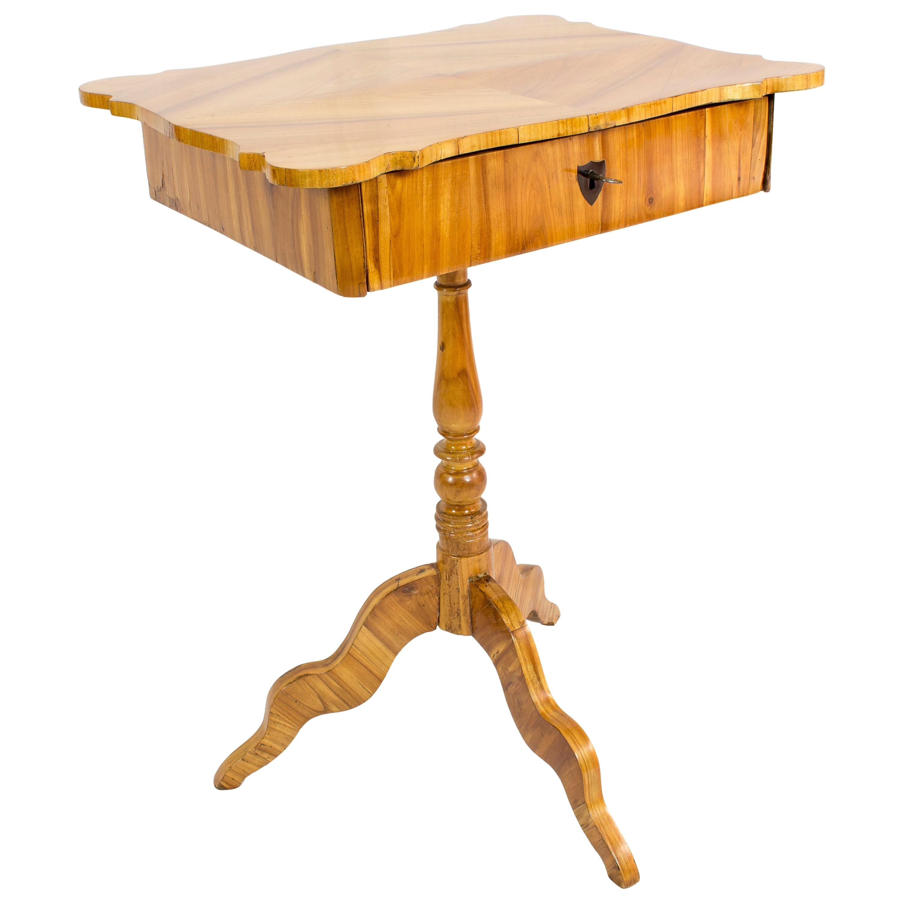 19th Century Louis Philippe Cherrywood Sewing or Side Table