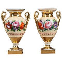 19th Century Louis-Philippe Etruscan Porcelain Vases with Floral Decoration