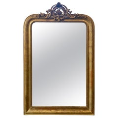 19th Century Louis Philippe Giltwood Mirror with Crest