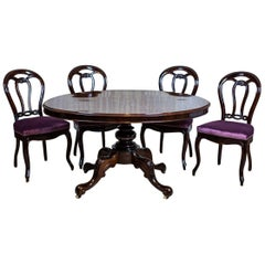 19th Century Louis Philippe Mahogany Table with Chairs
