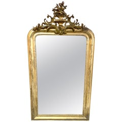 19th Century Louis Philippe Mirror with Carved Crest