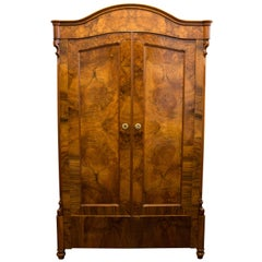 19th Century Louis Philippe or Late Biedermeier Small Walnut Wardrobe