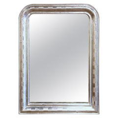19th Century Louis Philippe Silver Leaf Mirror with Engraved Stripe Decor