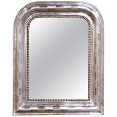 19th Century Louis Philippe Silver Leaf Petite Mirror with Engraved Stripe Decor