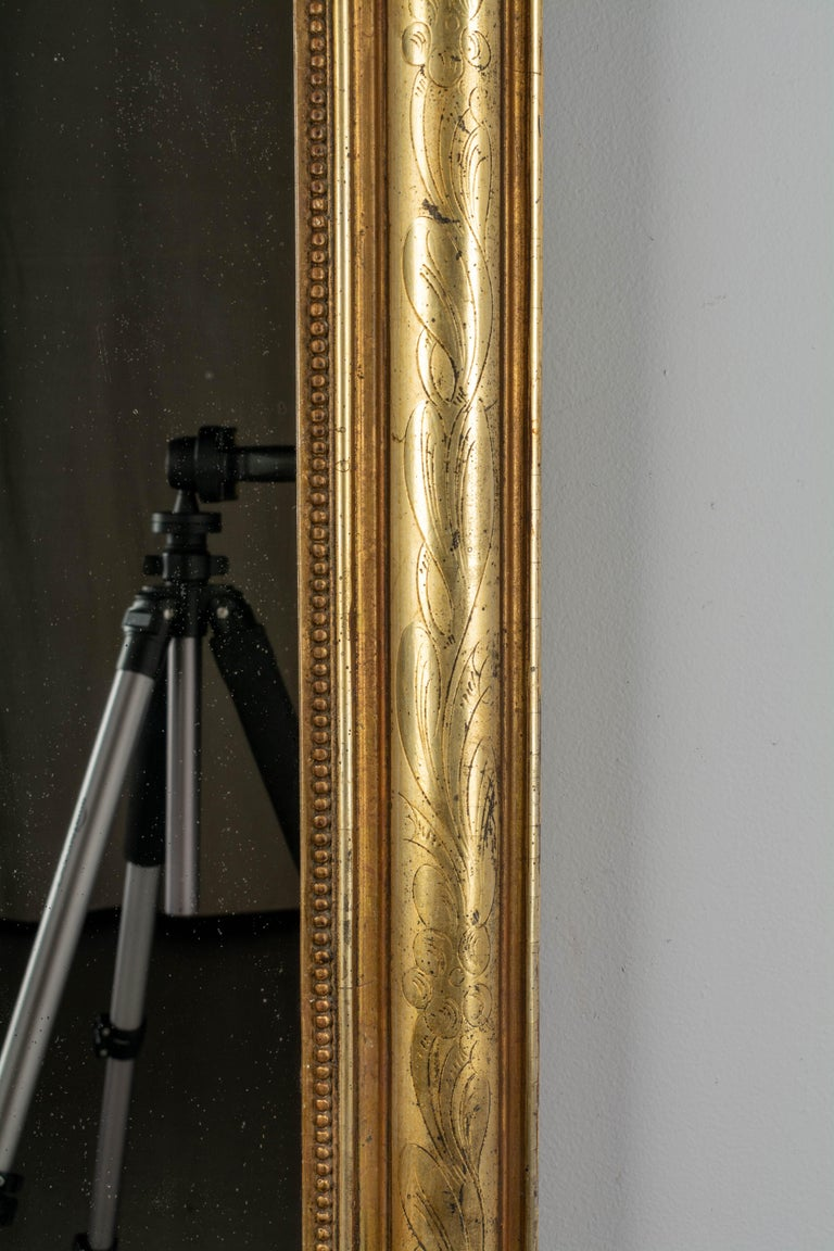 Giltwood 19th Century Louis Philippe Style Gilded Mirror with Oval Crest For Sale