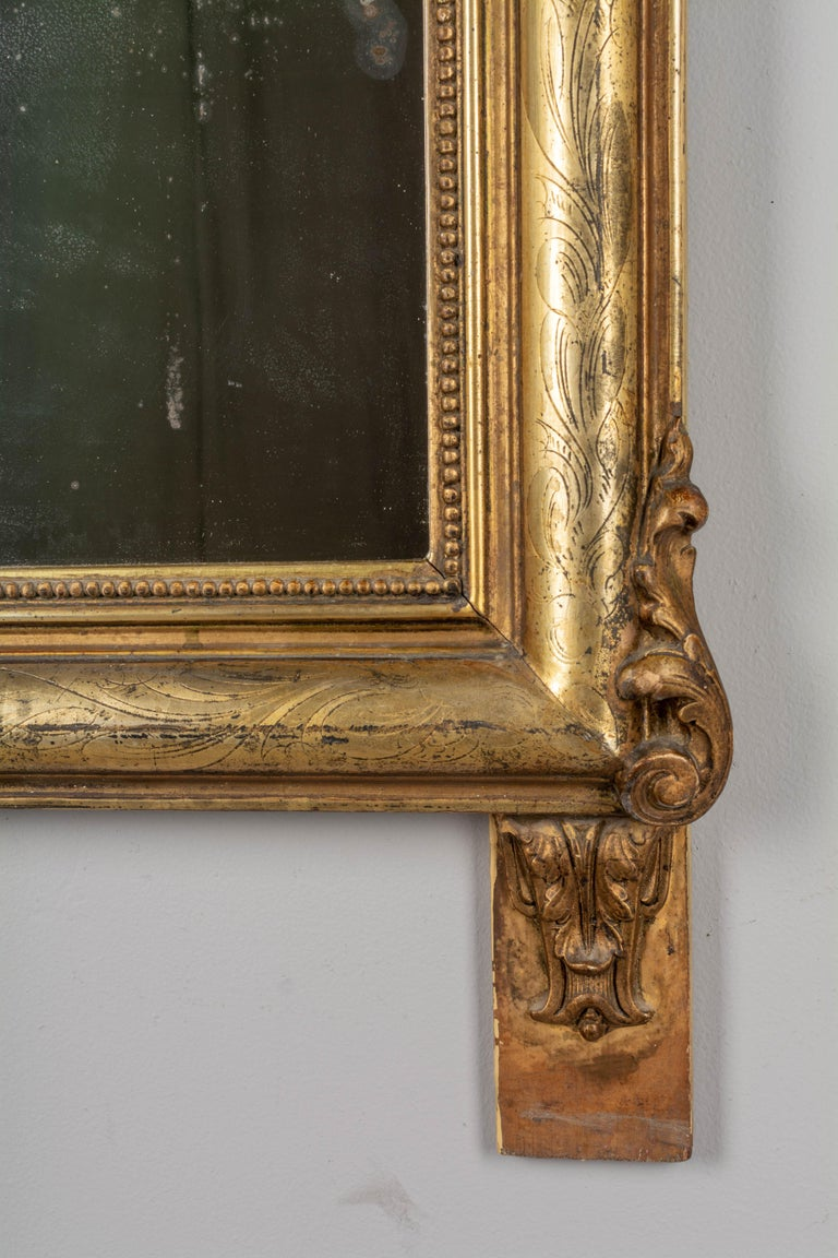 19th Century Louis Philippe Style Gilded Mirror with Oval Crest For Sale 2