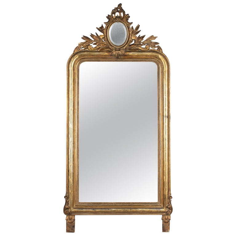 19th Century Louis Philippe Style Gilded Mirror with Oval Crest For Sale