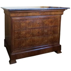 19th Century Louis Philippe Walnut Commode with Marble Top