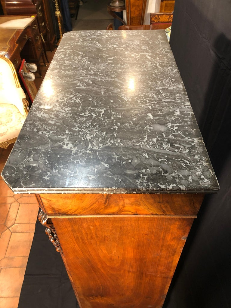 19th Century Louis Philippe Walnut Secretaire, Marble Top, 1840s For Sale 7