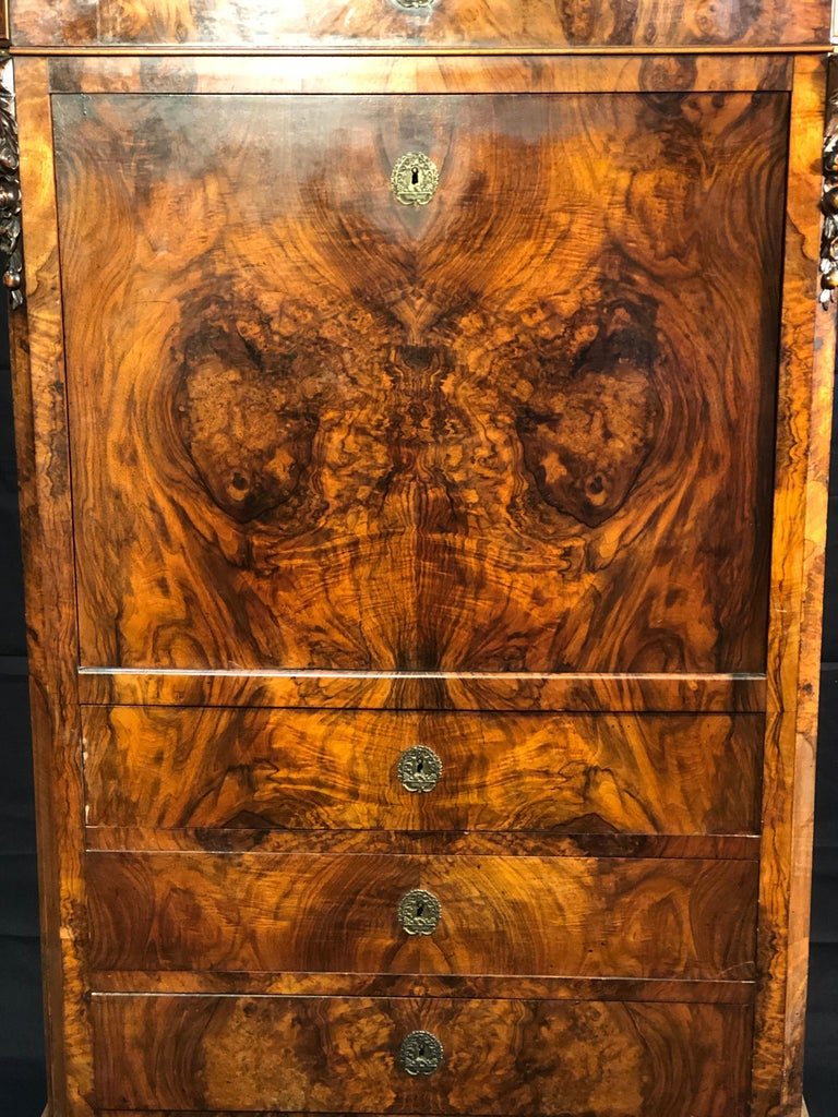 French 19th Century Louis Philippe Walnut Secretaire, Marble Top, 1840s For Sale
