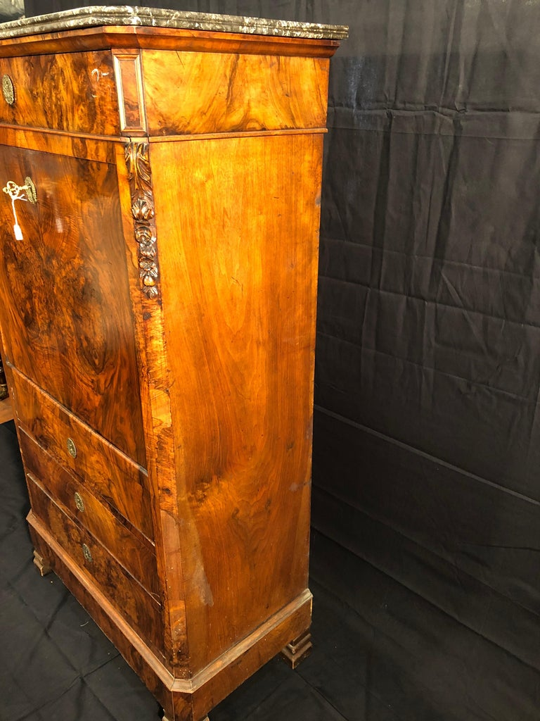 Mid-19th Century 19th Century Louis Philippe Walnut Secretaire, Marble Top, 1840s For Sale