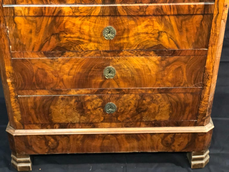 19th Century Louis Philippe Walnut Secretaire, Marble Top, 1840s For Sale 1
