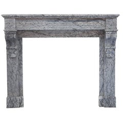 19th Century Louis Phillipe Italian Bardiglio Marble Fireplace Mantel