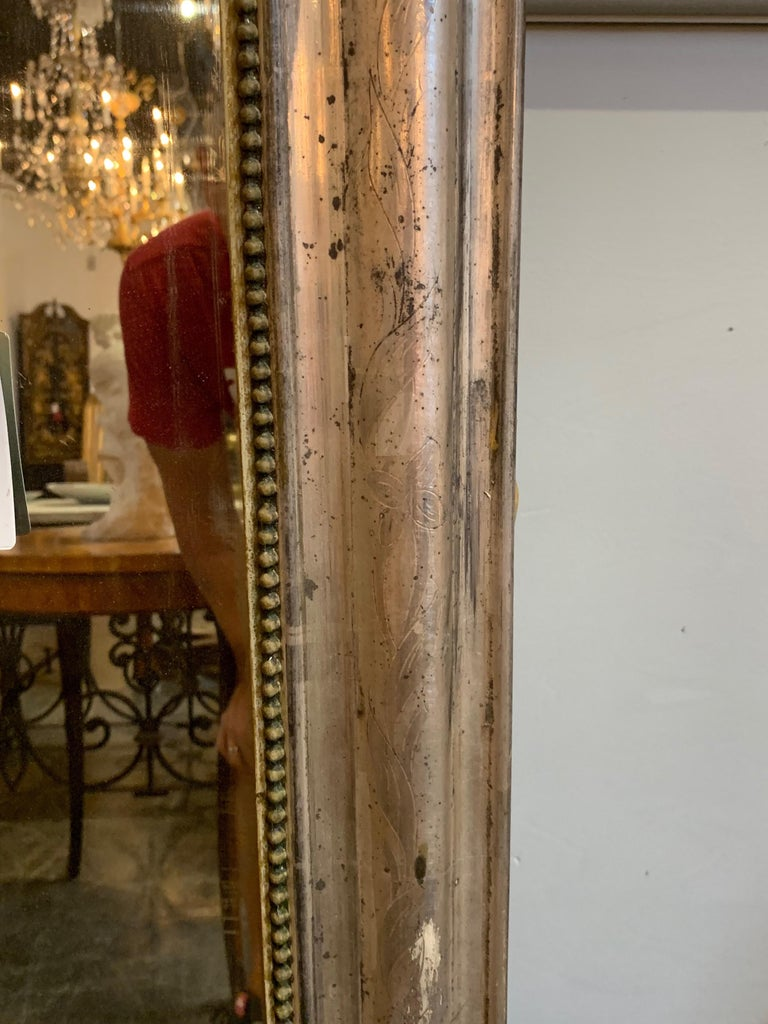 19th Century Louis Phillipe Mirror with Crest In Good Condition For Sale In Dallas, TX