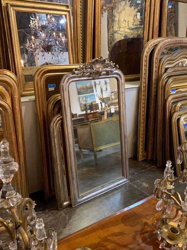 Wood 19th Century Louis Phillipe Mirror with Crest For Sale