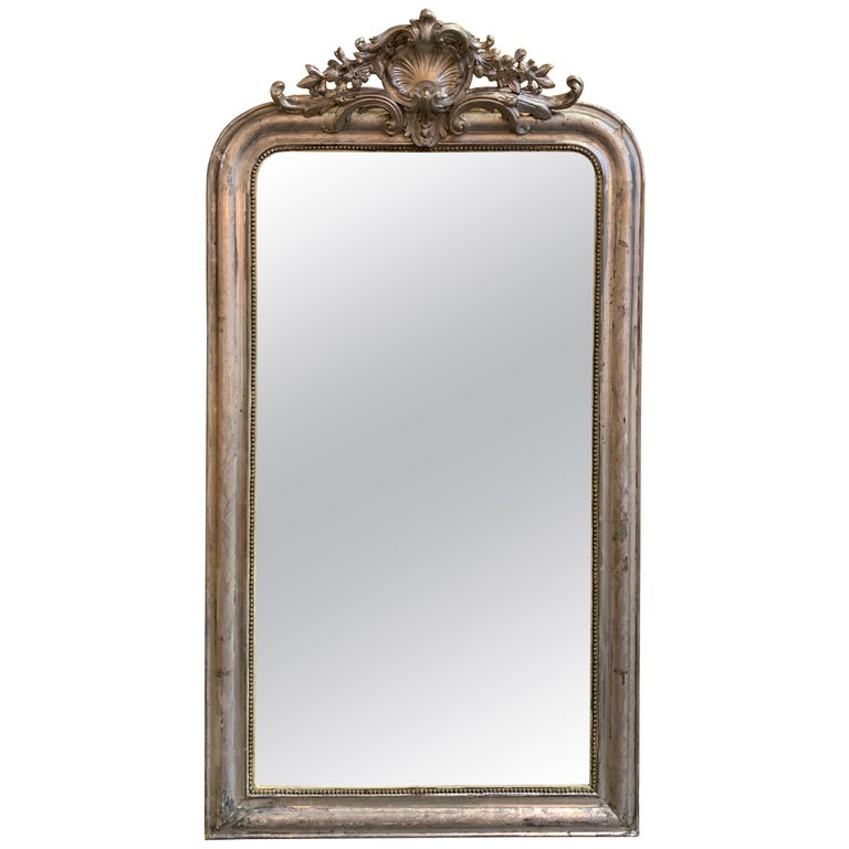 19th Century Louis Phillipe Mirror with Crest For Sale