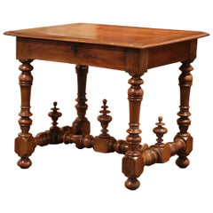19th Century Louis XIII Carved Walnut and Pear Table with Decorative Finials