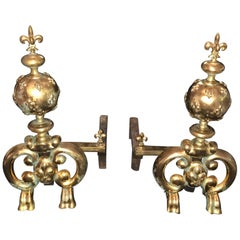 19th Century Louis XIV Andirons of Gilt Bronze, Large with Fleur de Lys France
