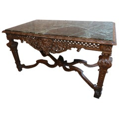 19th Century Louis XIV Italian Carved Wood Console Table with Green Marble Top