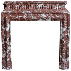 19th Century Louis XIV Style Fireplace in Belgian Rouge Griotte Marble